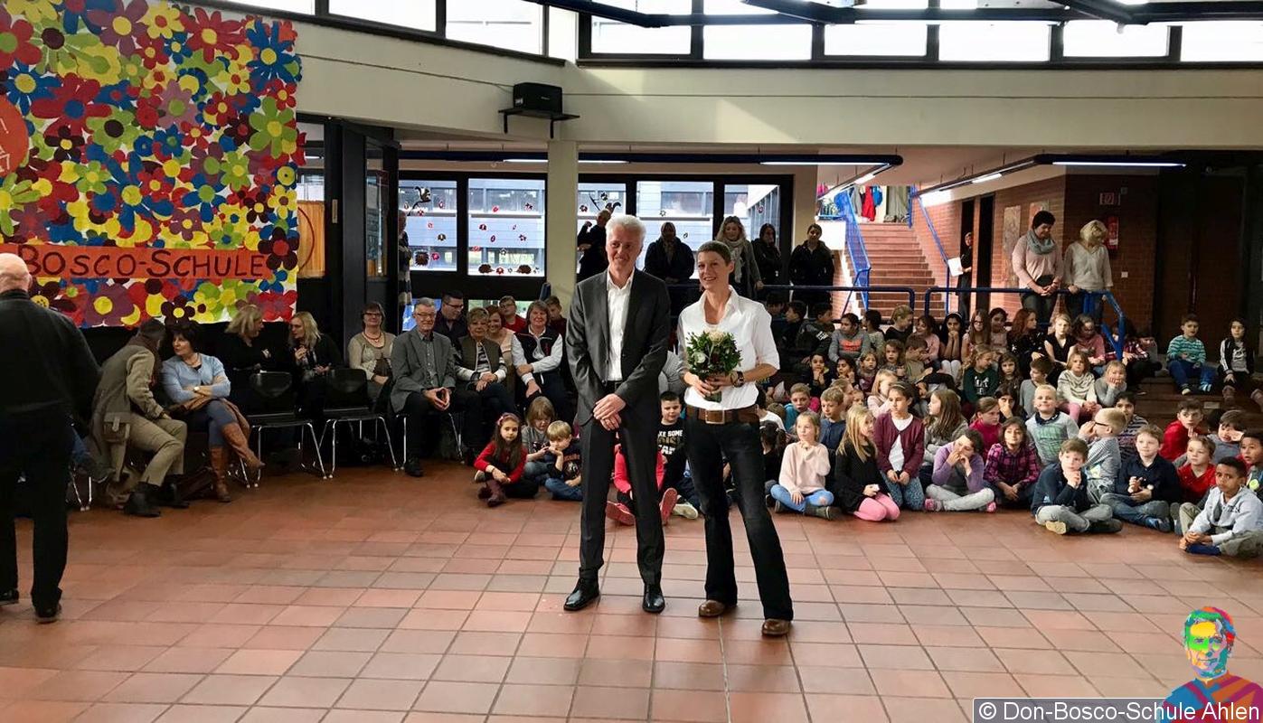 Schulrat Dirk Haupt und Rektorin Katrin Ratschow